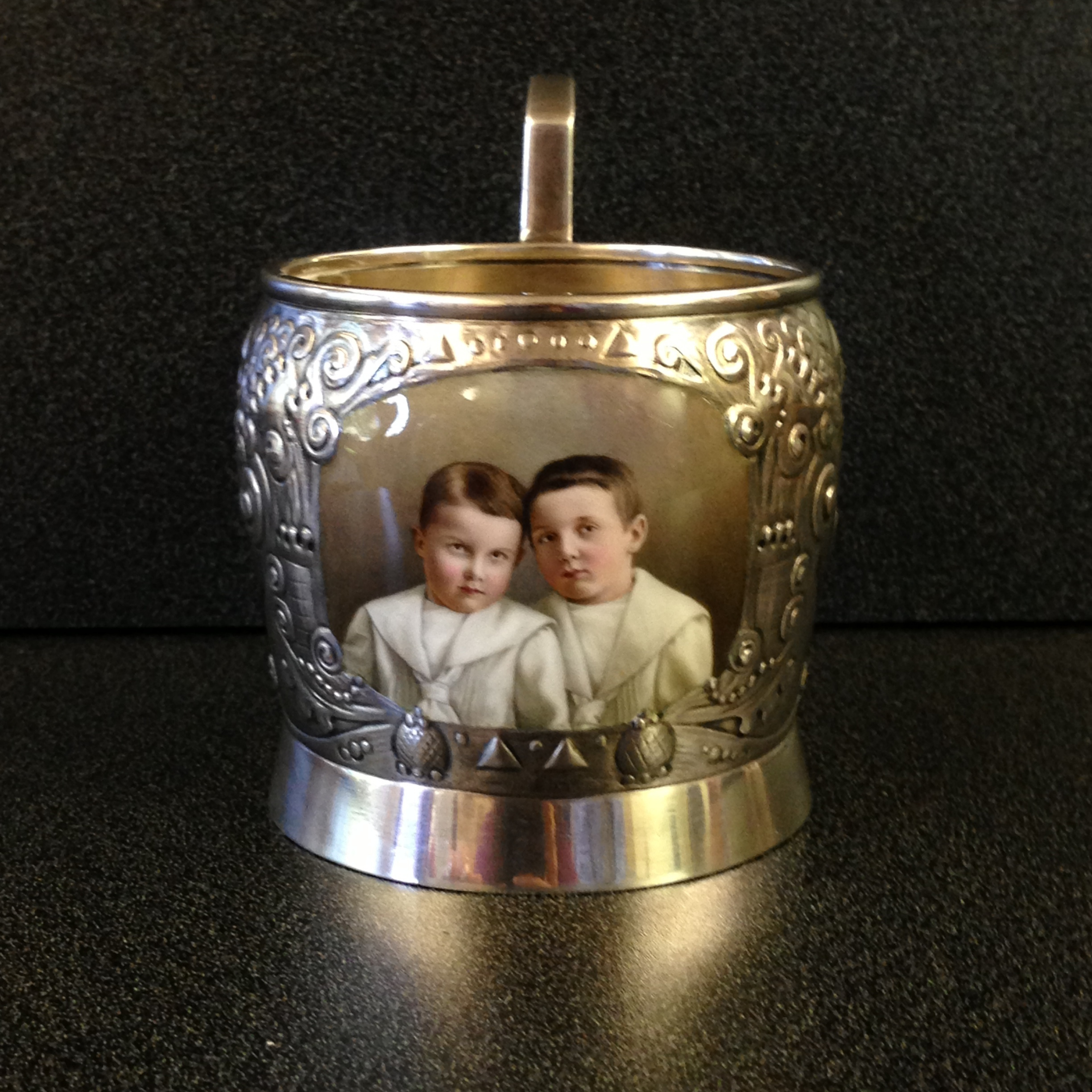 Silver  podstakannik  with enameled portrait of Yuri and Boris Goldovsky. Copyright restricted. All rights reserved.