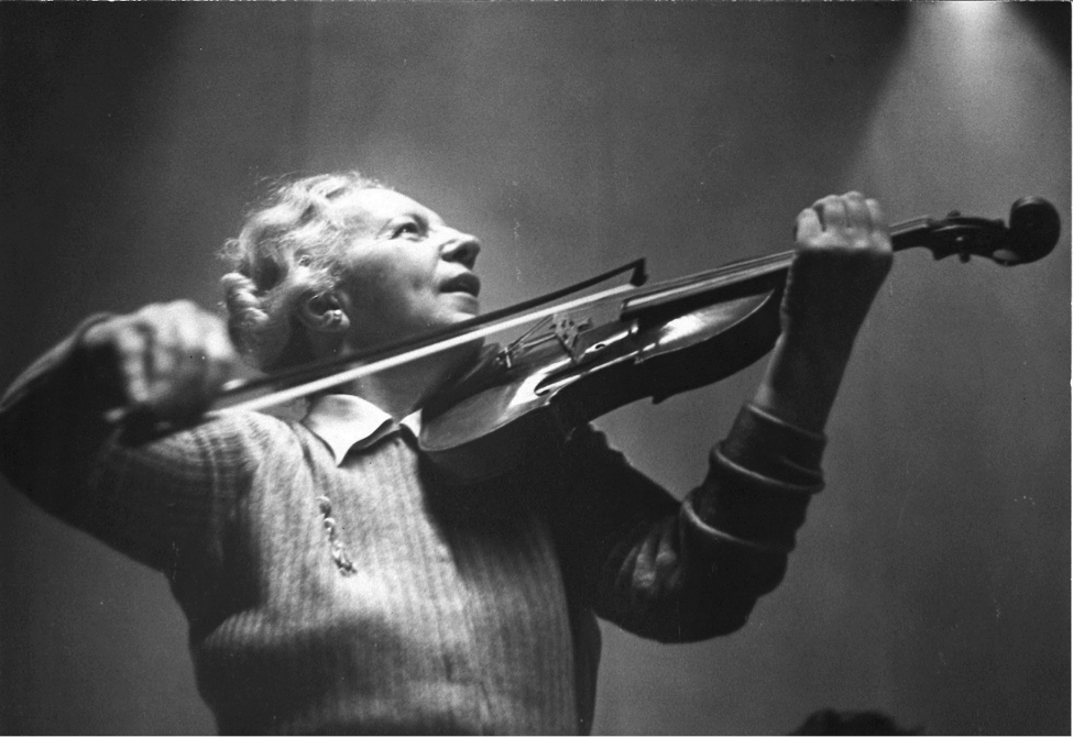 Photograph of Lea Luboshutz taken by Adrian Siegel when she was in her early sixties as she rehearsed with the Philadelphia Orchestra. Used here with the Orchestra's permission.