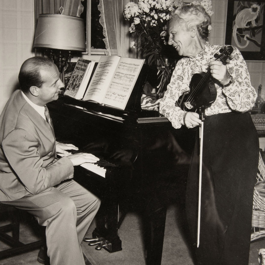 Lea with son Boris Goldovsky rehearsing in Maine (circa 1935).