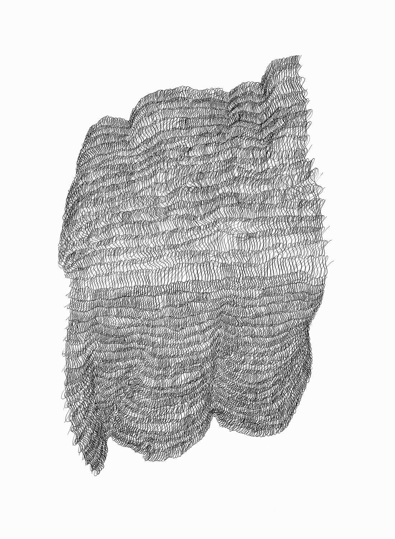 Figure 8s 1 ,  2017   sumi ink on 140 lb cold press watercolor paper 30 x 22 in (76.2 x 55.9 cm)