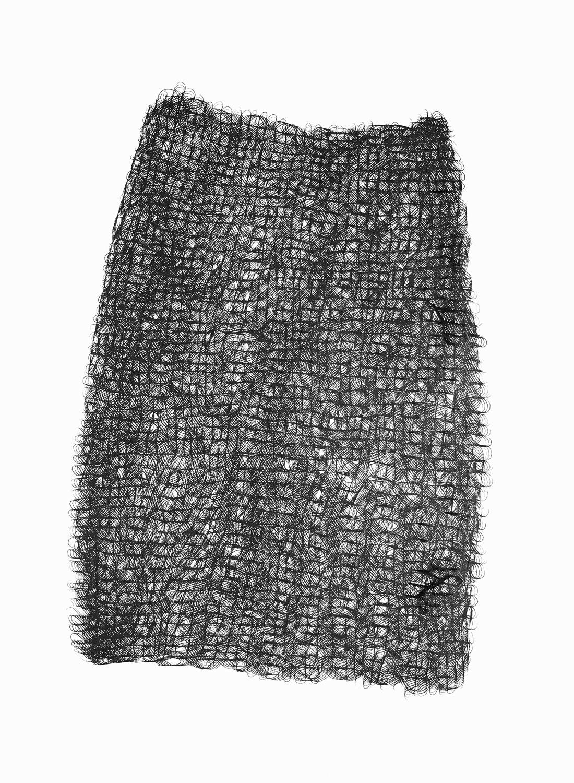 Figure 8s 2 ,  2017   sumi ink on 140 lb cold press watercolor paper 30 x 22 in (76.2 x 55.9 cm)