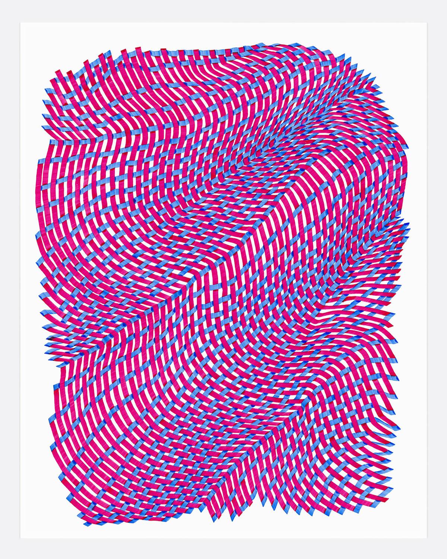 Woven Lines 30 ,  2019   acrylic on yupo heavy 14 x 11 in (35.56 x 27.9 cm)