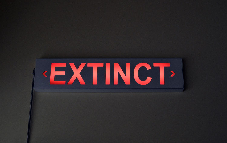"""EXTINCT , 2017  Aluminium, polycarbonate, quincaillerie, câblage, lumière Édition de 4 40"""" x 3"""" x 9""""."""
