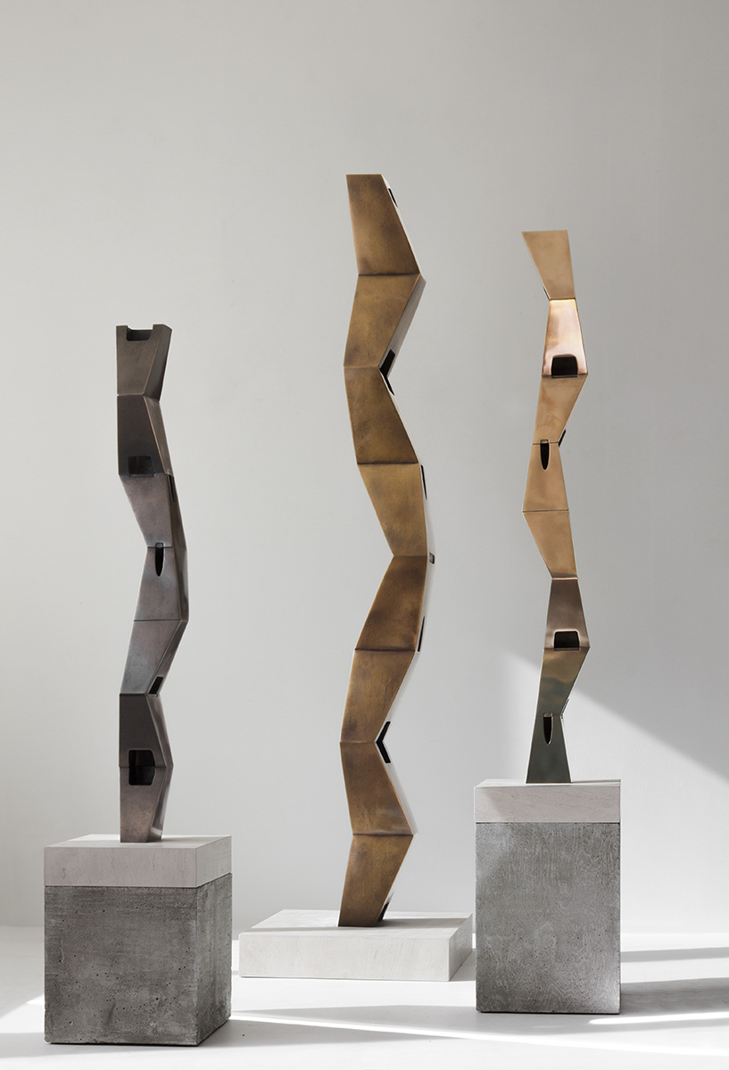 "Tropos (for Gertrude Stein) III/I/II , 2016 Bronze 3 7/8 x 5 1/8 x 47 1/4""   Tropos (for Djuna Barnes) I/II/II , 2016 Bronze 6 1/2 x 7 x 74""   Tropos (for Elsa von Freytag-Loringhoven) II/I/I , 2016 Bronze 5 1/2 x 5 3/4 x 47 """