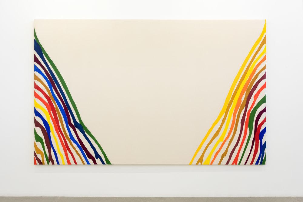"""Unfurled , 2018, acrylique et résine sur toile et sur plastique, 102 x 164 """"."""