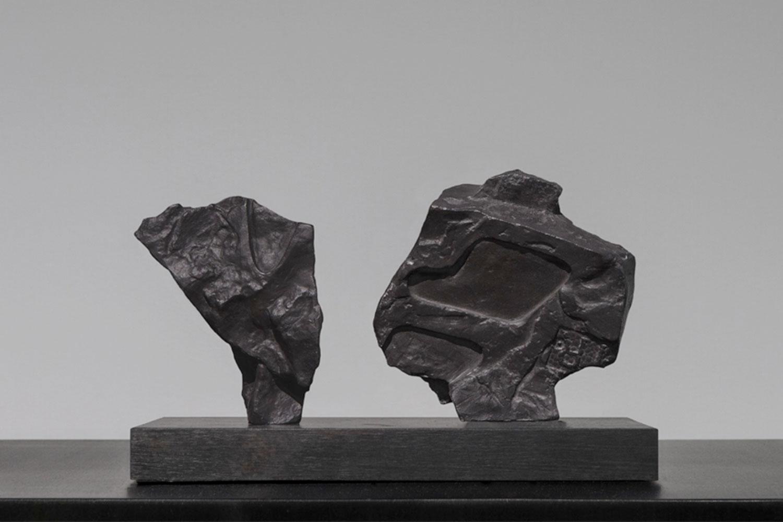 """Formation I-III et Formation II-III , 2014  Pièce unique d'une série de 3  Poterie de grès issue de moules de coulage avec engobe noir  3 7/8 x 1 5/8 x 5 3/8""""."""