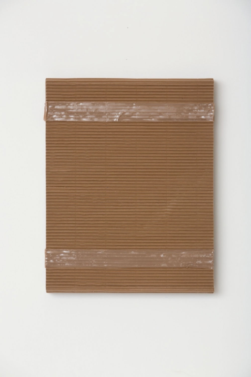 "Monochrome with Corrugated Cardboard and Tan Packing Tape , 2017 Acrylique sur toile de lin  20 x 16 x 1 1/2""."