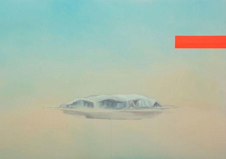 """Ice shelf  , 2016, Acrylique sur toile, 78"""" × 110""""."""