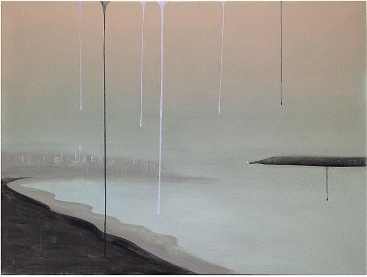 """Untitled , 2015, Acrylique sur toile, 36 x 48""""."""