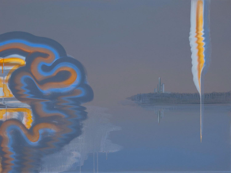 """UNSEEN SEEN (Launch) , 2018 Acrylique sur toile  30 x 40""""."""