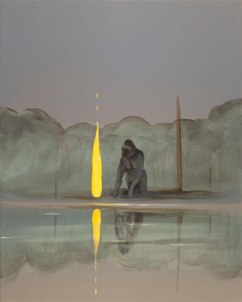 "None (Gorilla) , 2018 Acrylique sur toile  20 x 16""."