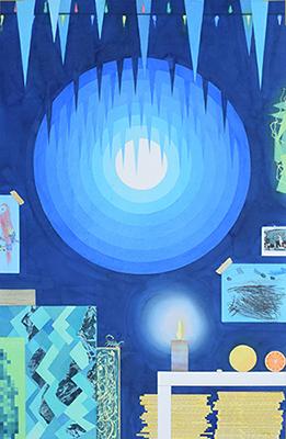 """Blue Studio #1,  2017 Aquarelle, crayons de couleur, feuille d'or, collage et transfert acrylique xerox sur papier 37 x 57""""."""