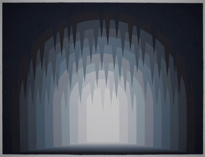 """Untitled (Cave) , 2017 Acrylique et Roll-A-Tex sur contreplaqué  72 x 96""""."""