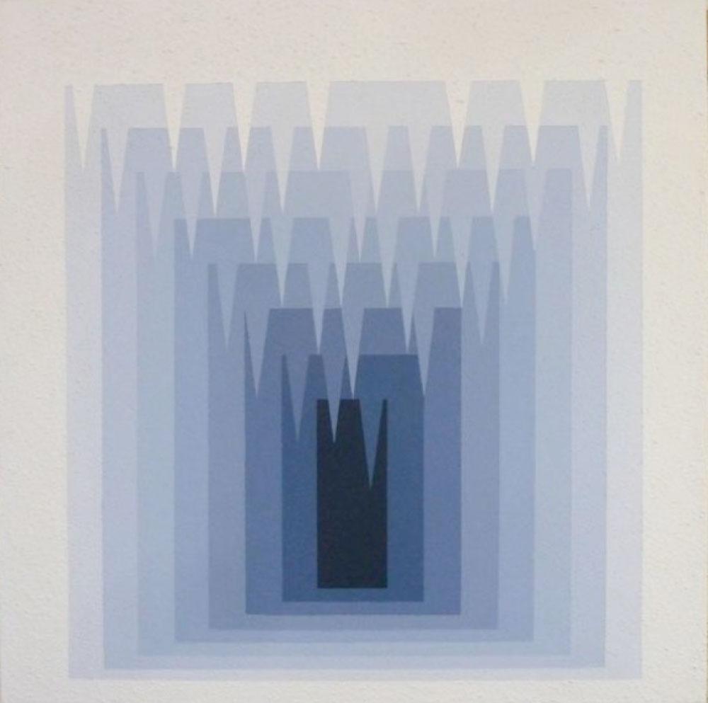 """Weber-Fechner Cave (White) , 2016 Acrylique et Roll-A-Tex sur contreplaqué  40 x 40""""."""