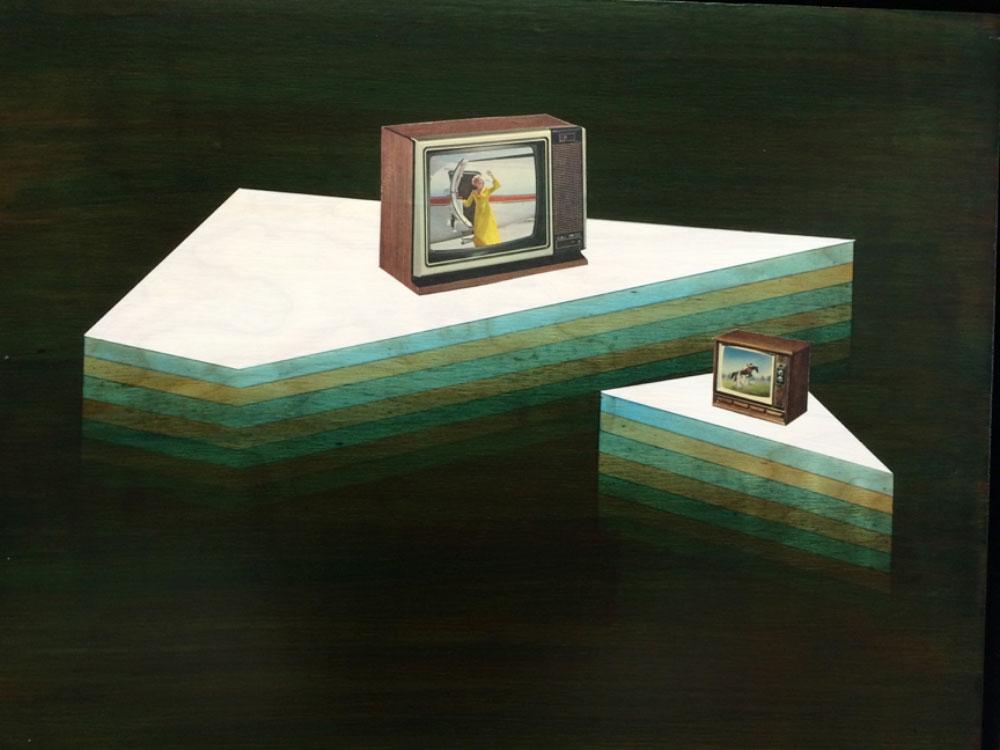 """Television Bay , 2014 Acrylique et collage du panneau du bouleau  15 x 20""""."""