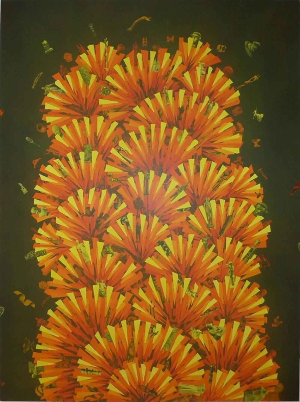 """Exploded Museum , 2015 Acrylique et collage sur lin tendu sur contre-plaqué (vernis UV)  80 x 60""""."""