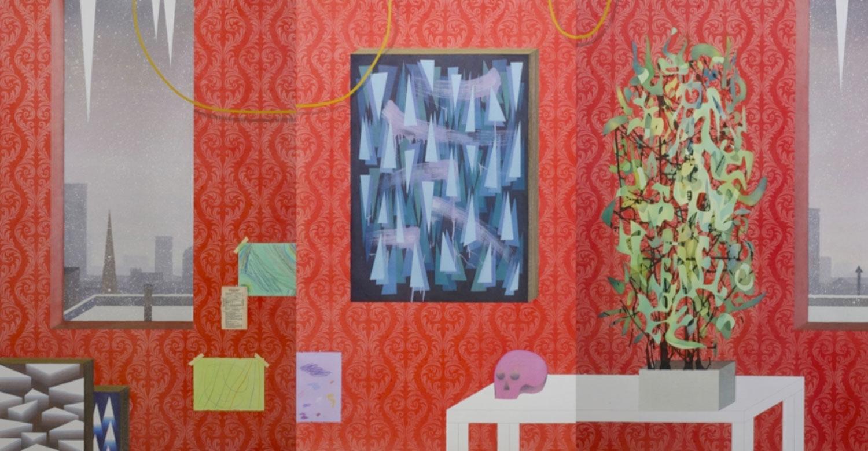 """Red Studio , 2013 Aquarelle, gouache, crayons de couleur et transfert Xerox sur papier  60 x 120""""."""