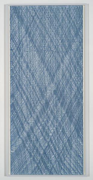 """Flottés 5 , 2015, Coton, Polyester, Et Rayonne, 83 1/2 x 38 3/4""""."""