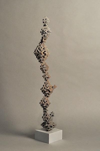 "Cristalmath ,  #5, 3 (2,5,7),  2018, Bronze, 5 1/2 x 4 x 24 3/4""."