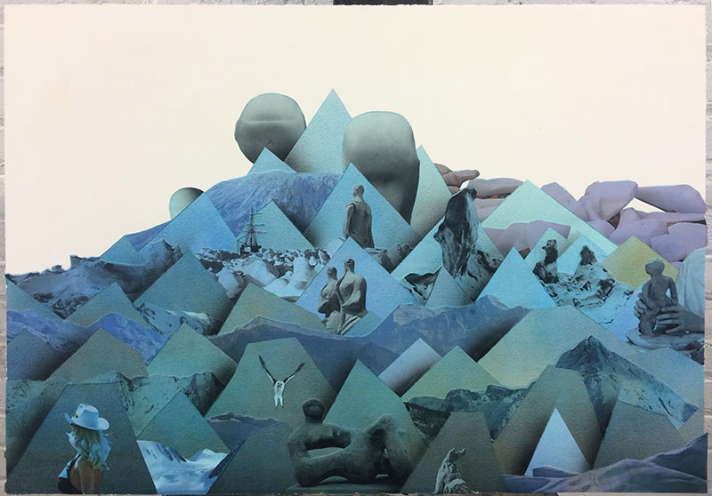 "Mountain (clay) , 2018 Aquarelle, acrylique et collage sur papier  20 x 28""."