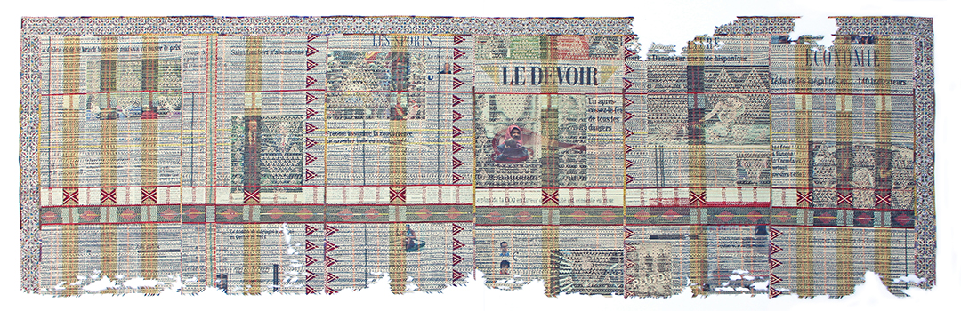 """Quelques 100 000 Personnes Piégées, Le Devoir, Mercredi 14 Décembre,  2017  Papiers journaux découpés au couteau X-Acto, collage 22 x 70 3/8""""."""