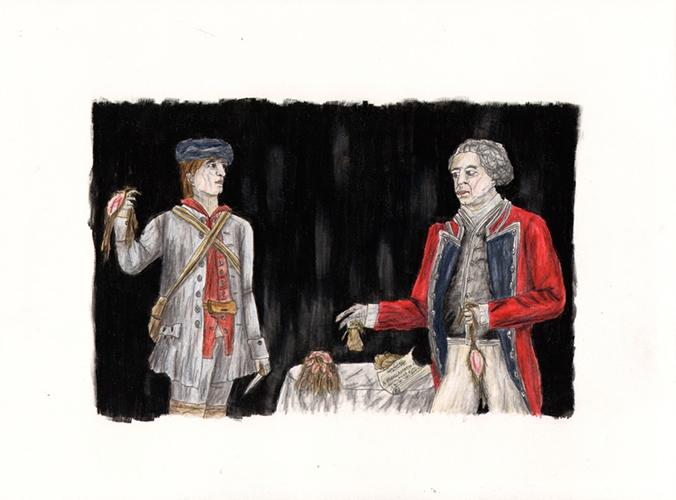 """La Condamnation De Jean-Louis Le Loutre,  2013, Pastel, Encre, Crayon Et Acrylique Sur Papier, 29 7/8 x 22"""" ."""
