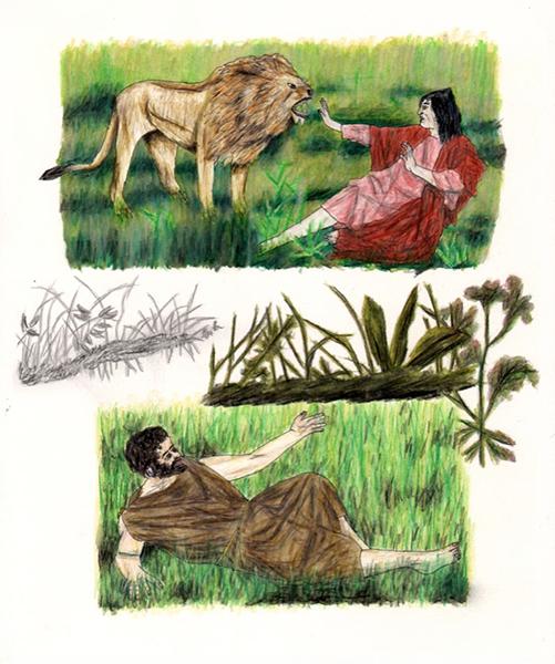 Melpomène Accueille Henry Wadsworth Longfellow,  2014, Crayons Et Encre Sur Papier.
