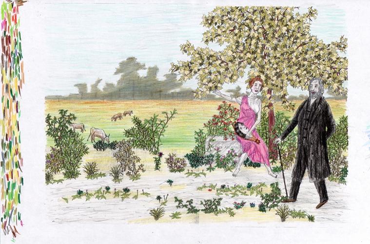 """La Dispersion Des Acadiens (D'après Henri Beau),  2015, Encre Et Crayons, Aquarelle Sur Papier, 12 1/4 x 9""""."""