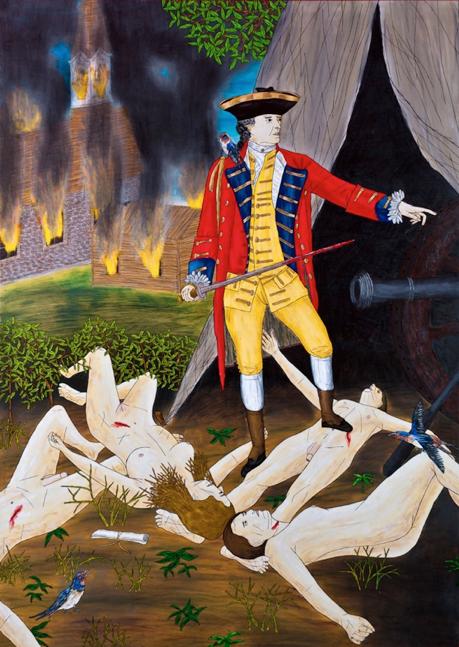 """Le Génocide Des Micmacs En Nouvelle-Écosse (Conrnwallis),  2015, Encre Et Crayons, Aquarelle Sur Papier, 9 x 12 1/4"""" ."""