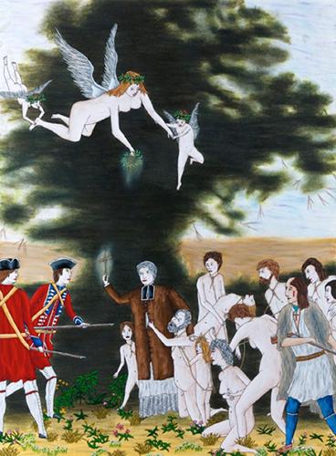 """L'assermentation De Louis Robichaud,  2015, Encre Et Crayons, Awuarelle Sur Papier, 9 x 12 1/4""""."""