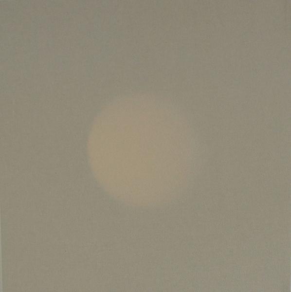 """Untitled (Our Hour) , 2015, Toile De Lin, Bois, Papier, Laiton, Et Mécanisme D'horloge, 30 x 30""""."""