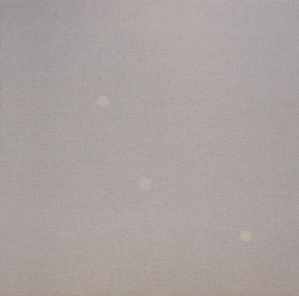 """Untitled (Three),  2015, Toile De Lin, Bois, Papier, Et Trois Mécanismes D'horloge, 16""""x 16""""."""