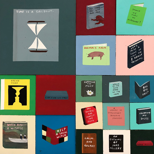 """Library Ix  (Détail), Acrylique sur bois, 36"""" x 168"""".\"""
