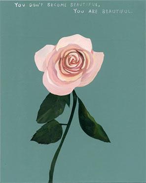 """Flower , 2018, Acrylique sur bois, 10 x 8""""."""