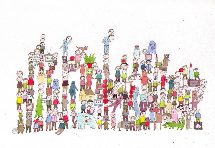 """Untitled,  2013, Aquarelle sur papier, 7 x 10 1/4""""."""