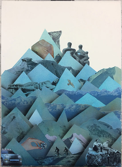 "Mountain (family ties) , 2018 Aquarelle, acrylique et collage sur papier 28 x 20""."