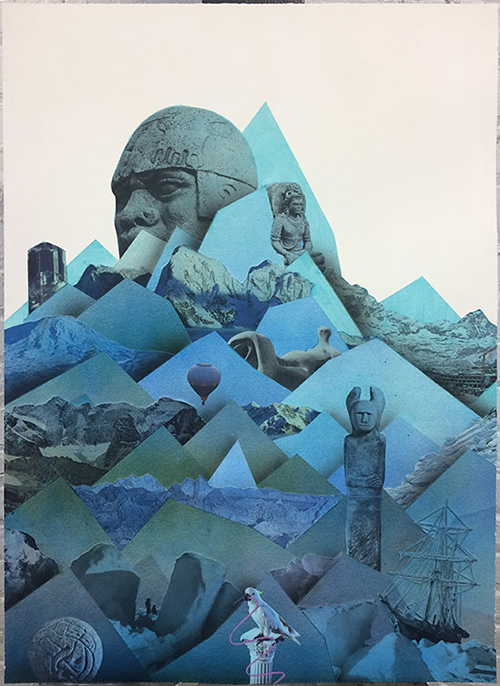 "Mountain (Endurance) , 2018 Aquarelle, acrylique et collage sur papier 28 x 20""."