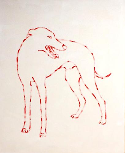 """Dog 1,  Acrylique sur toile, 60 x 48""""."""