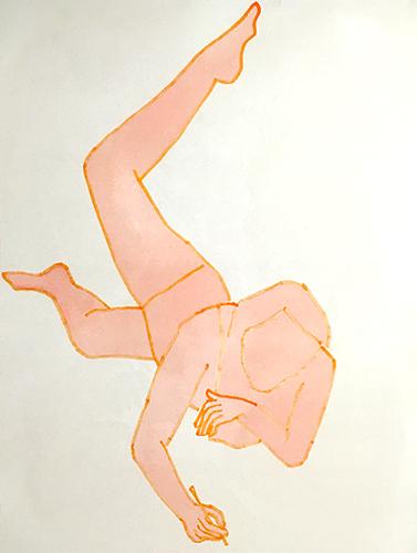 """Peach It Reads Well,  2016, Acrylique et crayon feutre sur toile, 48 x 36""""."""