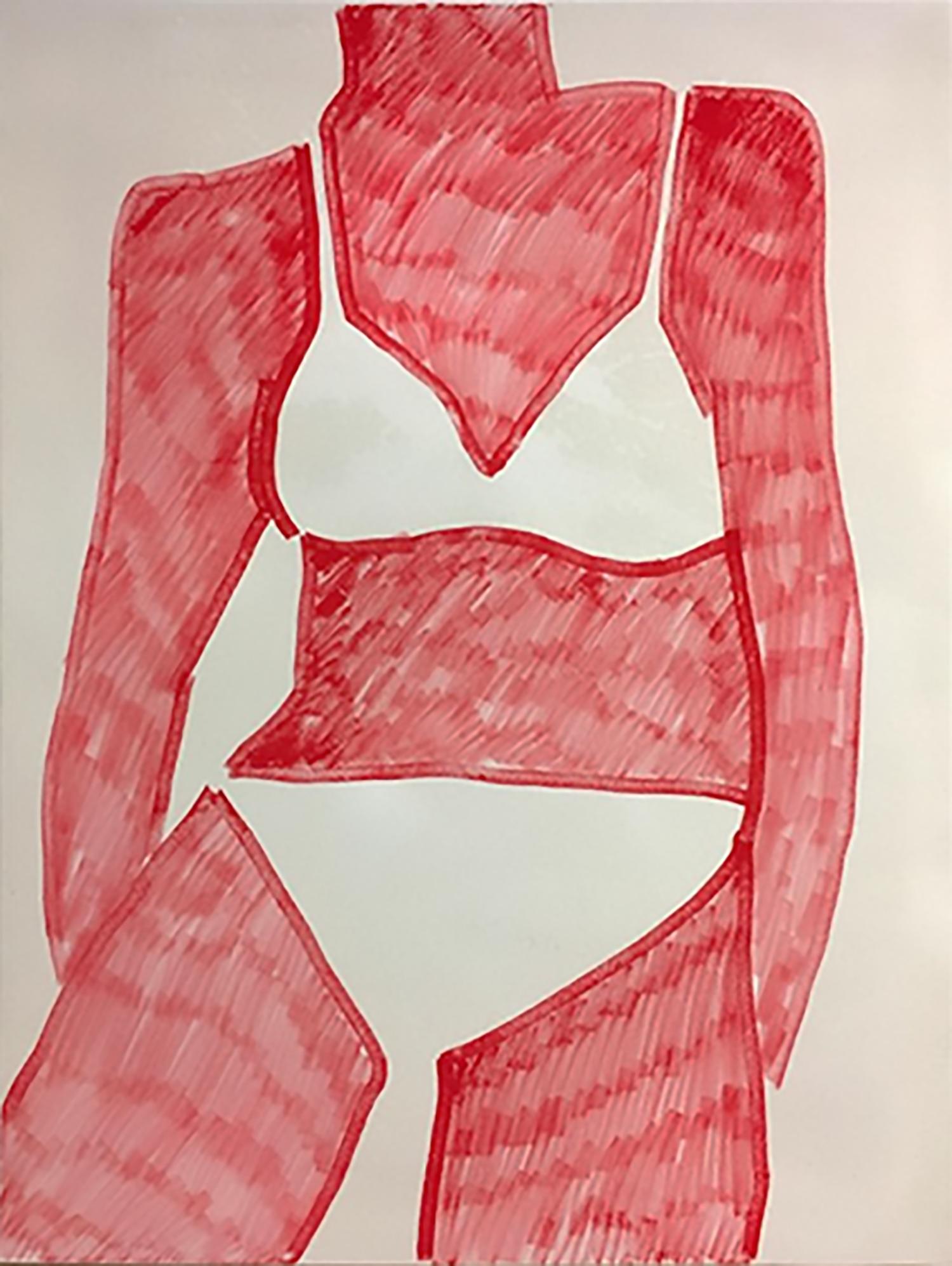 "Poolside,  2016, Crayon marqueur sur toile,, 48 x 36""."