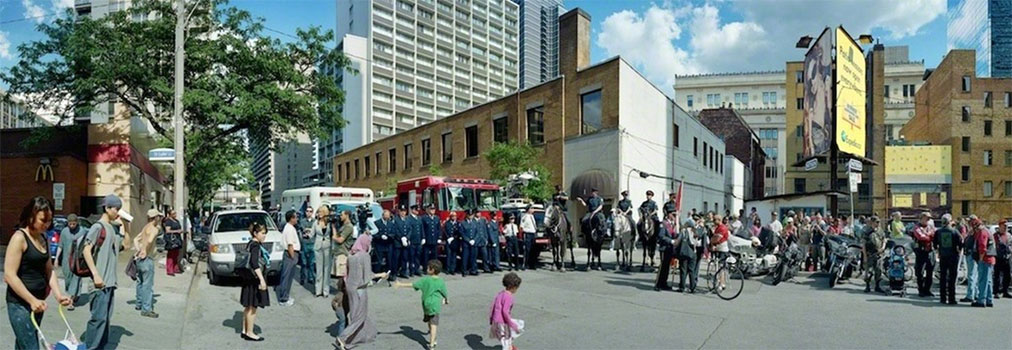 "Corner of the Courageous, Repatriation Ceremony for Master Corporal Kristal and Private Andrew Miller, Grenville St., Toronto, Ontario, June 28, 2011,  Impression au jet d'encre 59 ½ × 165""."
