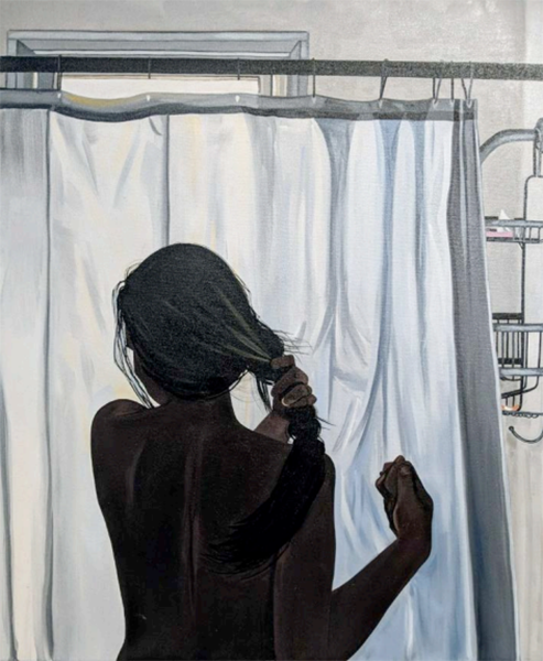 "Cristine getting ready to shower,  2018, Huile sur toile, 24 x 20""."