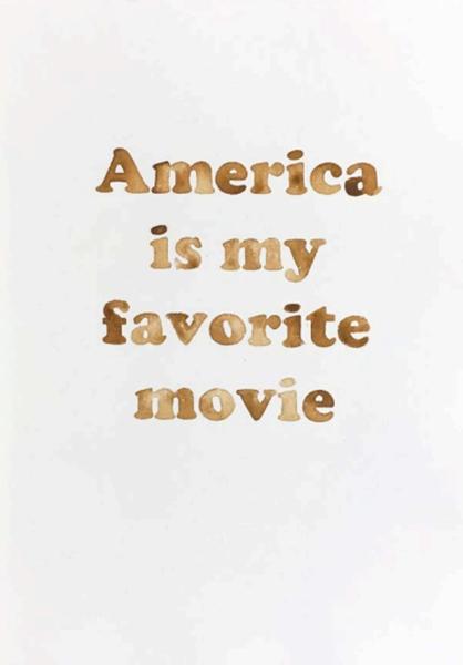 """America Is my favourite movie,  2017, Aquarelle sur papier, 15 1/2 x 11 1/4""""."""