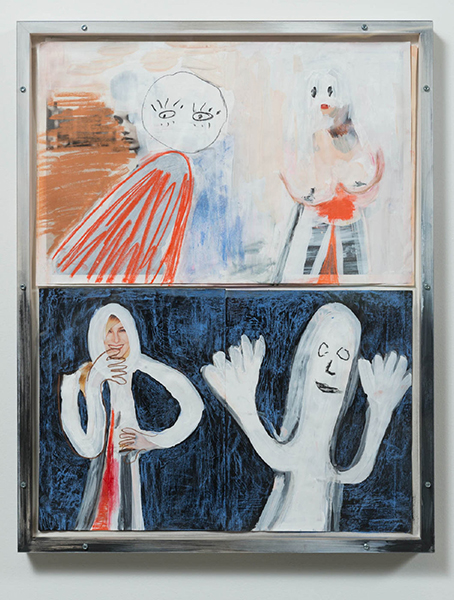 "Looking At Vertical Lines In The Palms Of Fluffy Hands , 2016, Peinture, crayon, marqueur, pastel et encre,  sur un journal Top-shop, 31 1/4 x 24 1/2"".*"