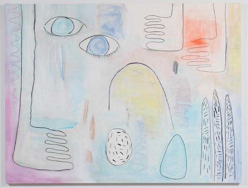 """Interprétations, Leisurely, 2016, Pastel, Crayon, Acrylique, Huile sur toile, 65 x 86 """"."""