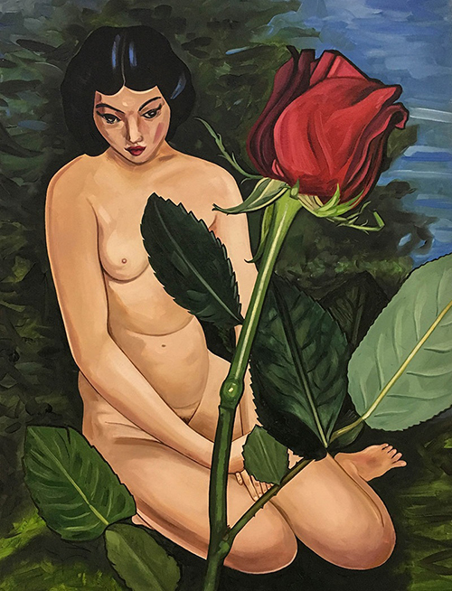 "Old Moise Kipling with new rose , 2017, Huile sur toile, 18 x 24""."
