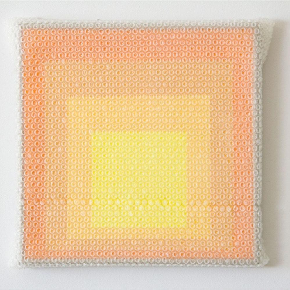 """Albers Study #4,  2018 Acrylique sur masonite avec encadrement de métal 16 x 16'""""."""