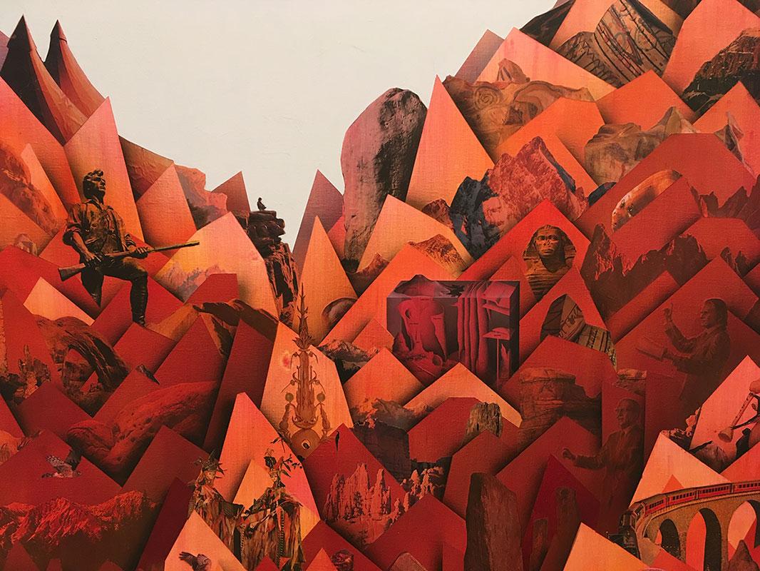 "Simon Hughes;  Mountain (magma) , 2019 (Détail) Acrylique et collage sur lin 60 x 50""."