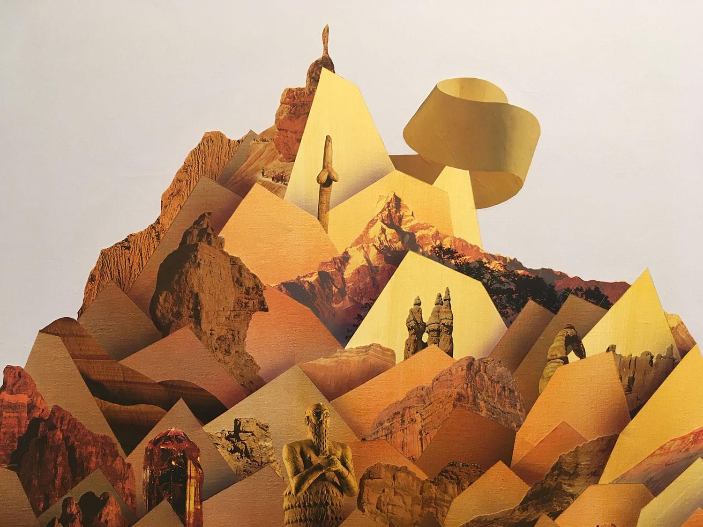 """Simon Hughes;  Mountain (Lincoln) , 2019 (Détail) Acrylique et collage sur lin 60 x 50'""""."""
