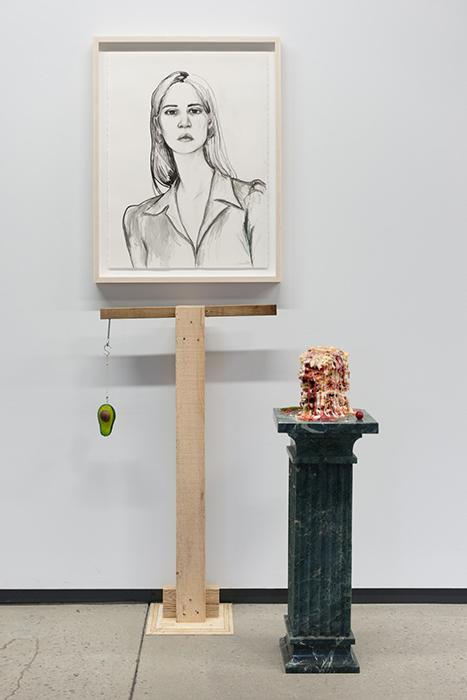 "Vue d'installation;  Everything is my problem,  2016 Fusain sur papier et uréthane, 30 x 22""   If I were a Flower,  2016, Uréthane, Silicone, peinture à huile. 39 x 12 x 12"""